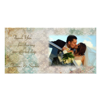 Damask Grunge Wedding Photo Card