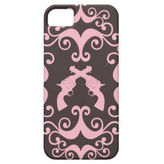 Damask guns grunge western pink goth pattern iPhone 5 case