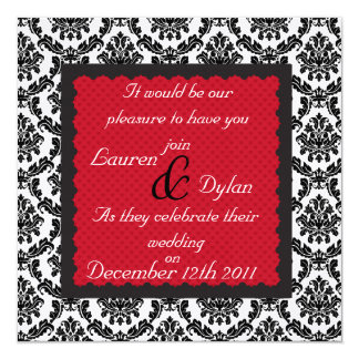 DAMASK Holiday BLACK & WHITE Formal Wedding Inva Personalized Announcement