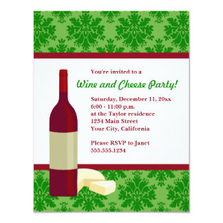 Damask Holiday Wine and Cheese Party Invitations