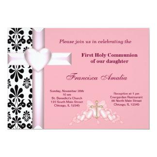"Damask Holy Communion 5"" X 7"" Invitation Card"