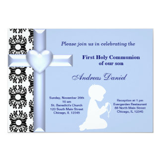 "Damask Holy Communion 5"" X 7"" Invitation Card"