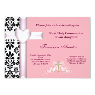 Damask Holy Communion 5x7 Paper Invitation Card