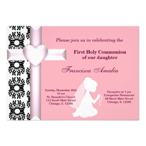 Damask Holy Communion Personalized Invite