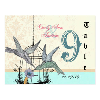 Damask Hummingbird  Birdcage Wedding Table Number Postcard
