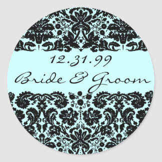 Damask In Black Classic Round Sticker