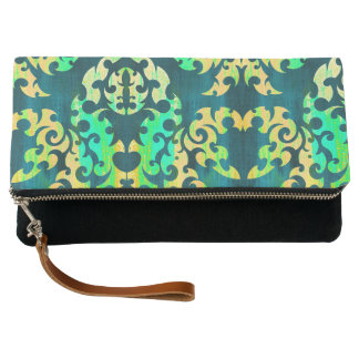 Damask in Dark Teal Clutch
