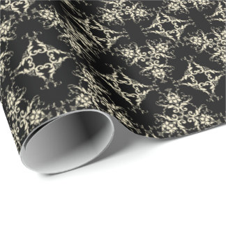 Damask in Ivory on Black Wrapping Paper