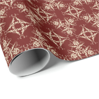 Damask in Ivory on Maroon Wrapping Paper