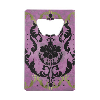 Damask in pink and gold credit card bottle opener