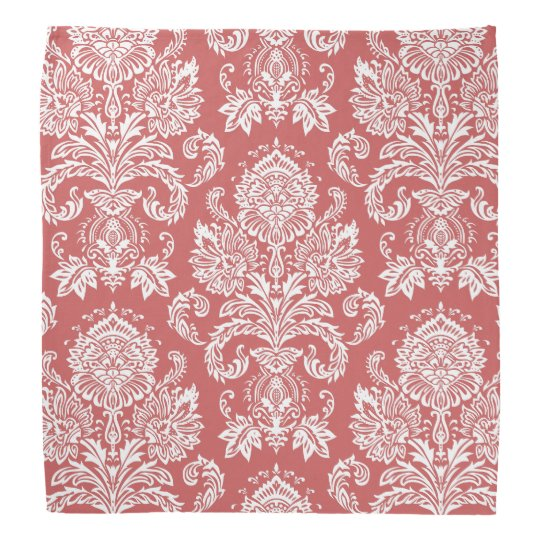 Damask Indian Red Gift Single Colour Bandana