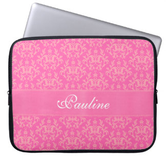 "Damask ""Kangaroo Paw"" named pink laptop case"