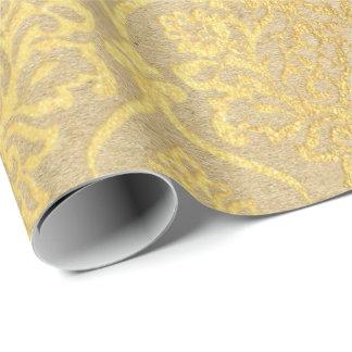 Damask Kraft Gold Natural Royal Antonietta Elegan Wrapping Paper