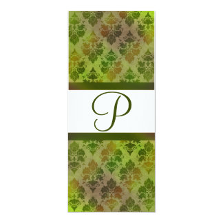 "Damask Late Summer Green Monogrammed Invitation 4"" X 9.25"" Invitation Card"