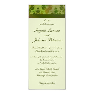 "Damask Late Summer Green Wedding Invitations 4"" X 9.25"" Invitation Card"