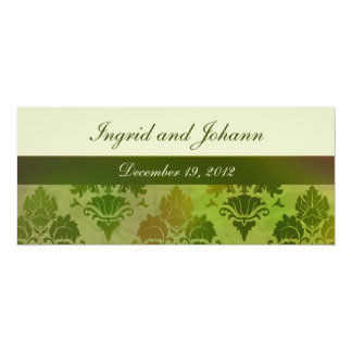 "Damask Late Summer Green Wedding or Save the Date 4"" X 9.25"" Invitation Card"
