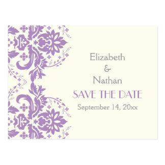 Damask lavender, grey, ivory wedding Save the Date Postcard