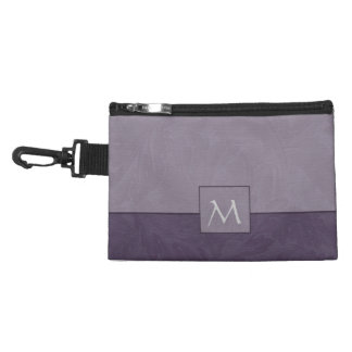 Damask Lavender Monogram  Clip On Accessory Bags