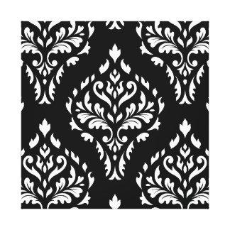Damask Leafy Baroque Pattern B&W I Gallery Wrap Canvas