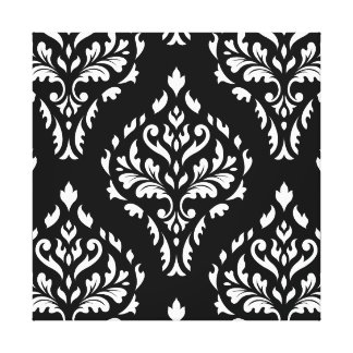 Damask Leafy Baroque Pattern B&W I Canvas Print