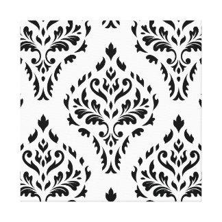 Damask Leafy Baroque Pattern B&W II Canvas Prints