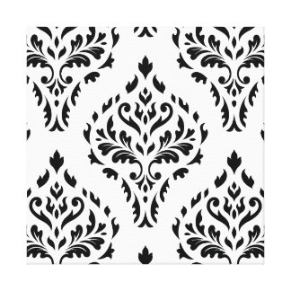 Damask Leafy Baroque Pattern B&W II Canvas Print