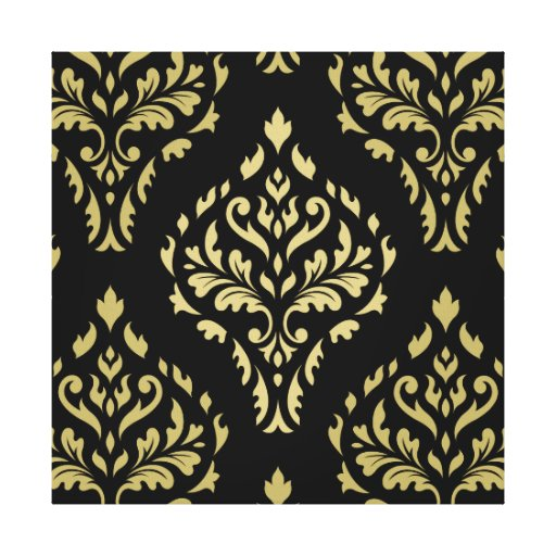 Damask Leafy Baroque Pattern Black & Golds Gallery Wrap Canvas