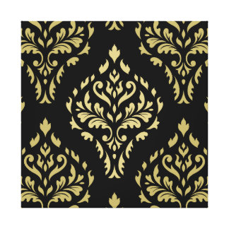 Damask Leafy Baroque Pattern Black & Golds Canvas Print