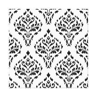 Damask Leafy Baroque Repeat Pattern B&W II Canvas Print