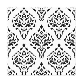 Damask Leafy Baroque Repeat Pattern B&W II Canvas Print