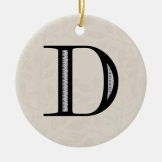 Damask Letter D - Black Round Ceramic Ornament