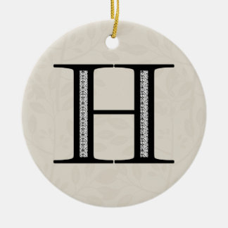 Damask Letter H - Black Ceramic Ornament