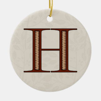 Damask Letter H - Red Ceramic Ornament