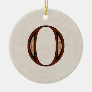 Damask Letter O - Red Round Ceramic Ornament