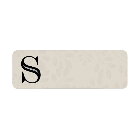 Damask Letter S - Black Return Address Label