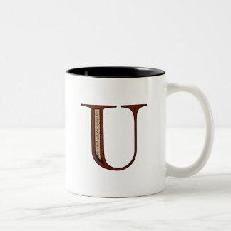 Damask Letter U - Red Two-Tone Coffee Mug