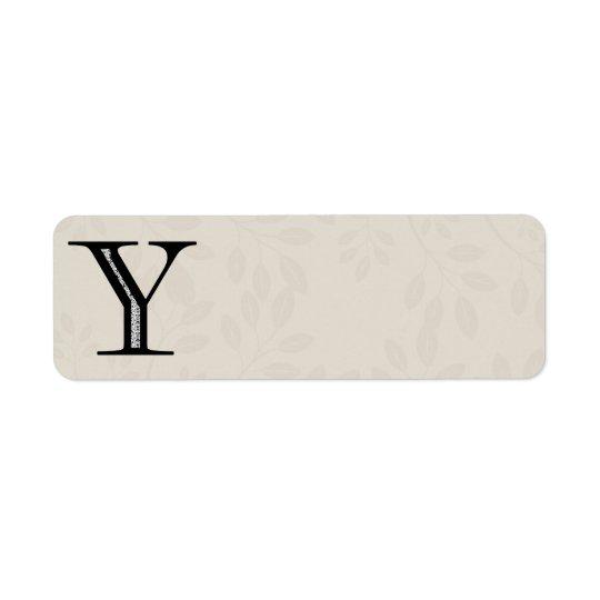Damask Letter Y - Black