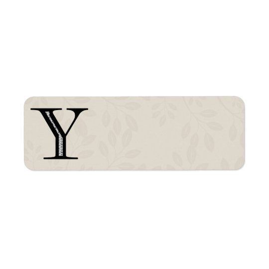 Damask Letter Y - Black Return Address Label