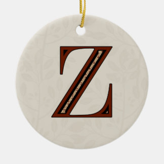 Damask Letter Z - Red Ceramic Ornament