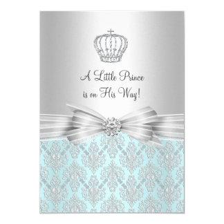 Damask Little Prince Baby Shower Invitation