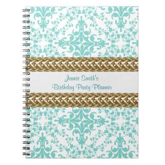 Damask Lt Blue White Gold Birthday Planner Spiral Notebook