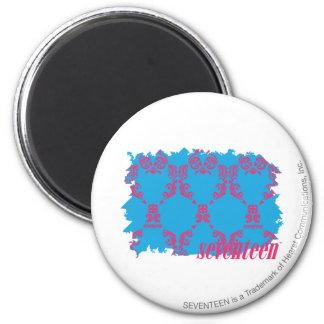 Damask Magenta-Aqua 4 2 Inch Round Magnet