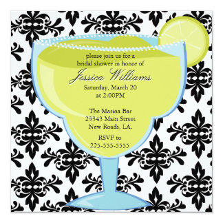 Damask Margarita Bridal Shower Card