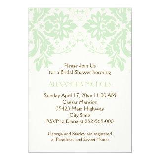 Damask mint green, ivory wedding bridal shower card