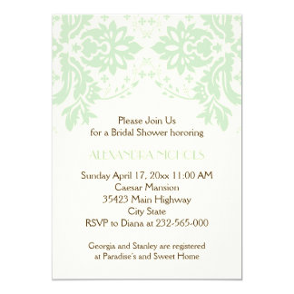 Damask mint green, ivory wedding bridal shower 5x7 paper invitation card