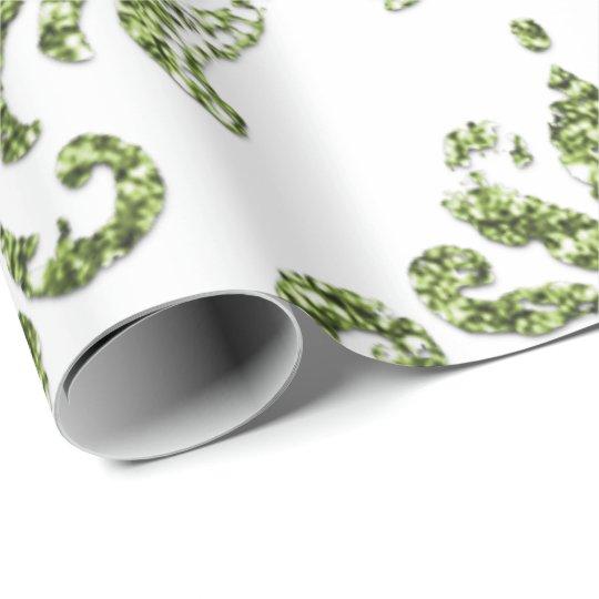 Damask Mint Green Royal Metallic White Glitter Wrapping Paper
