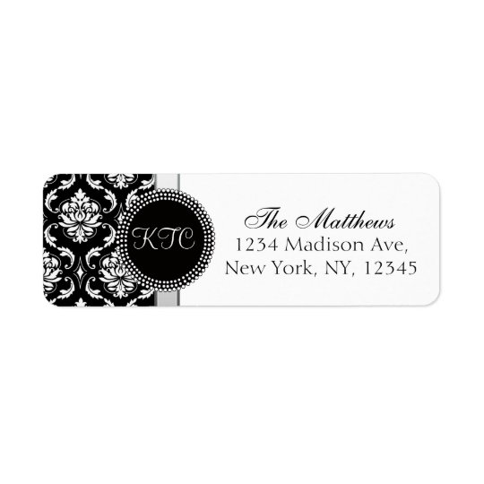 Damask Monogram Address Labels Black Silver