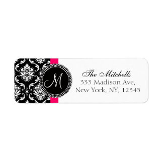 Damask Monogram Address Labels Black White