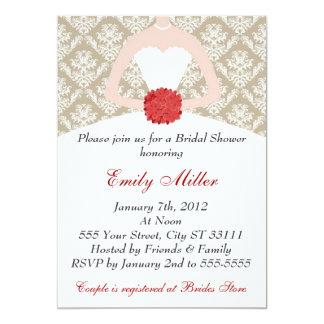 Damask Monogram Bridal Shower Invitation Bouquet