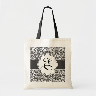 Damask Monogram Bridesmaid Tote Black Handles